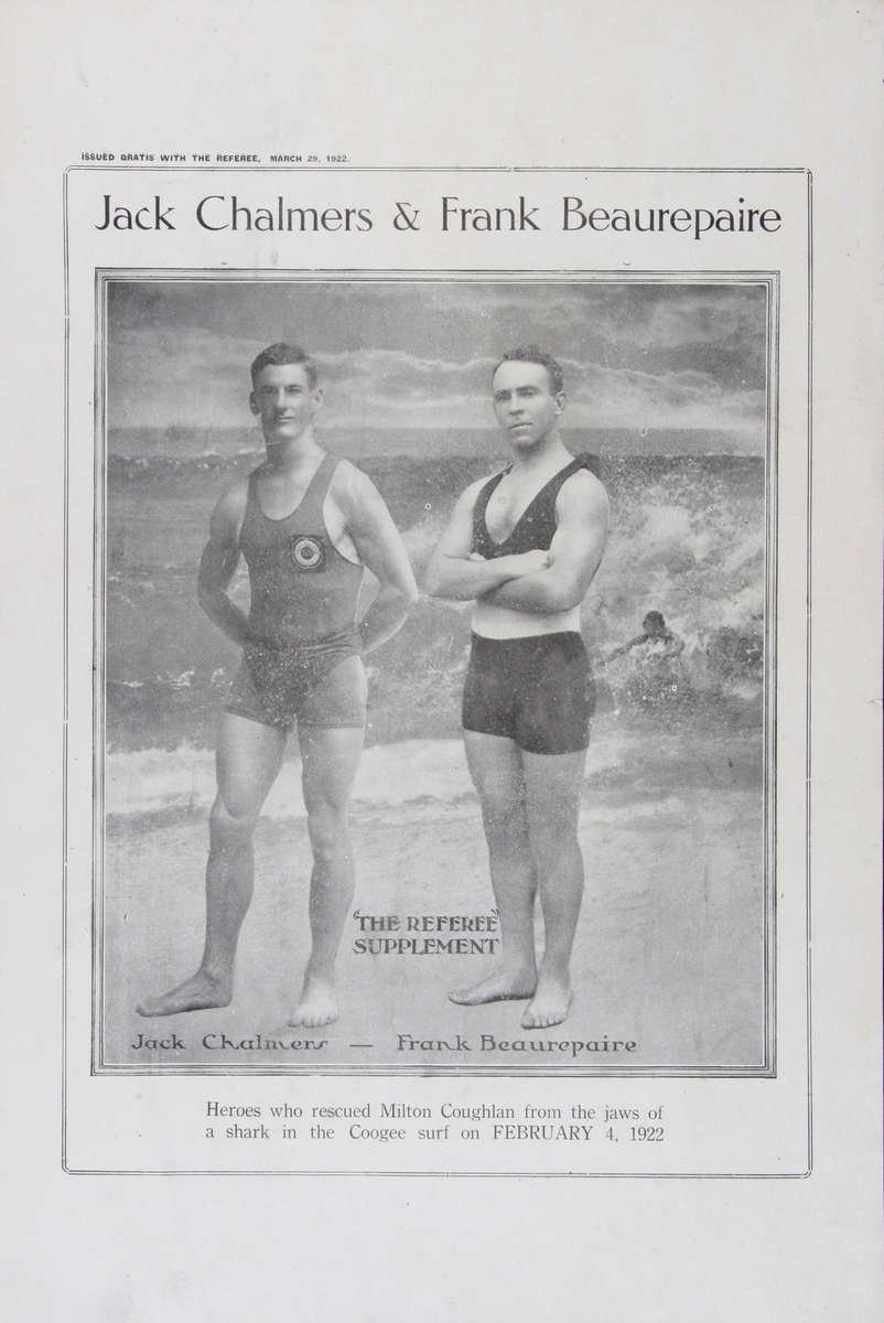 Souvenir supplement to the Referee, 29 March 1922 depicting a black and white photograph of Jack Chalmers and Frank Beaurepaire posing against a backdrop of a surf beach. ANMM Collection 00039777