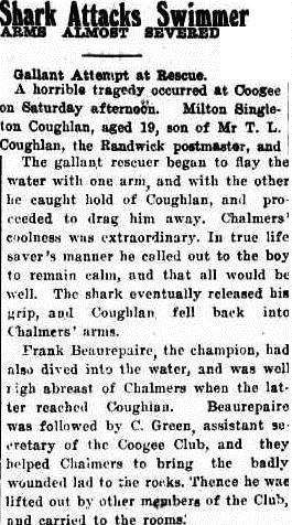 The Singleton Argus reports the shark attack and rescue, 7.02.22 p 2