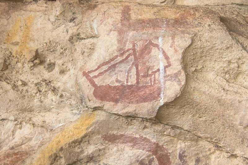 Aboriginal engraving of a tall ship on rock