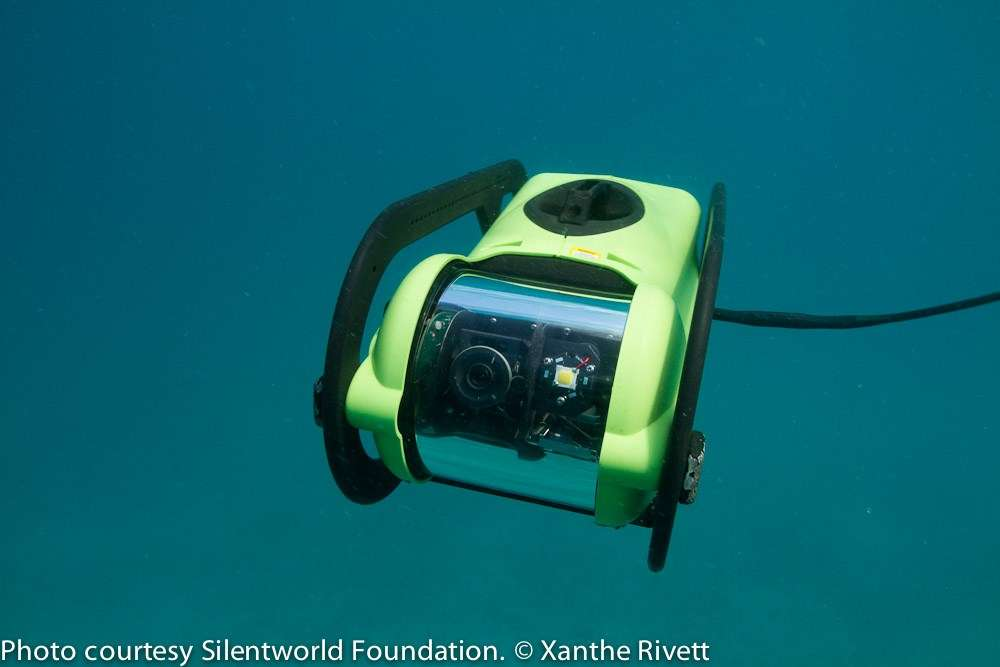 Photo of a remotely operated vechile underwater.