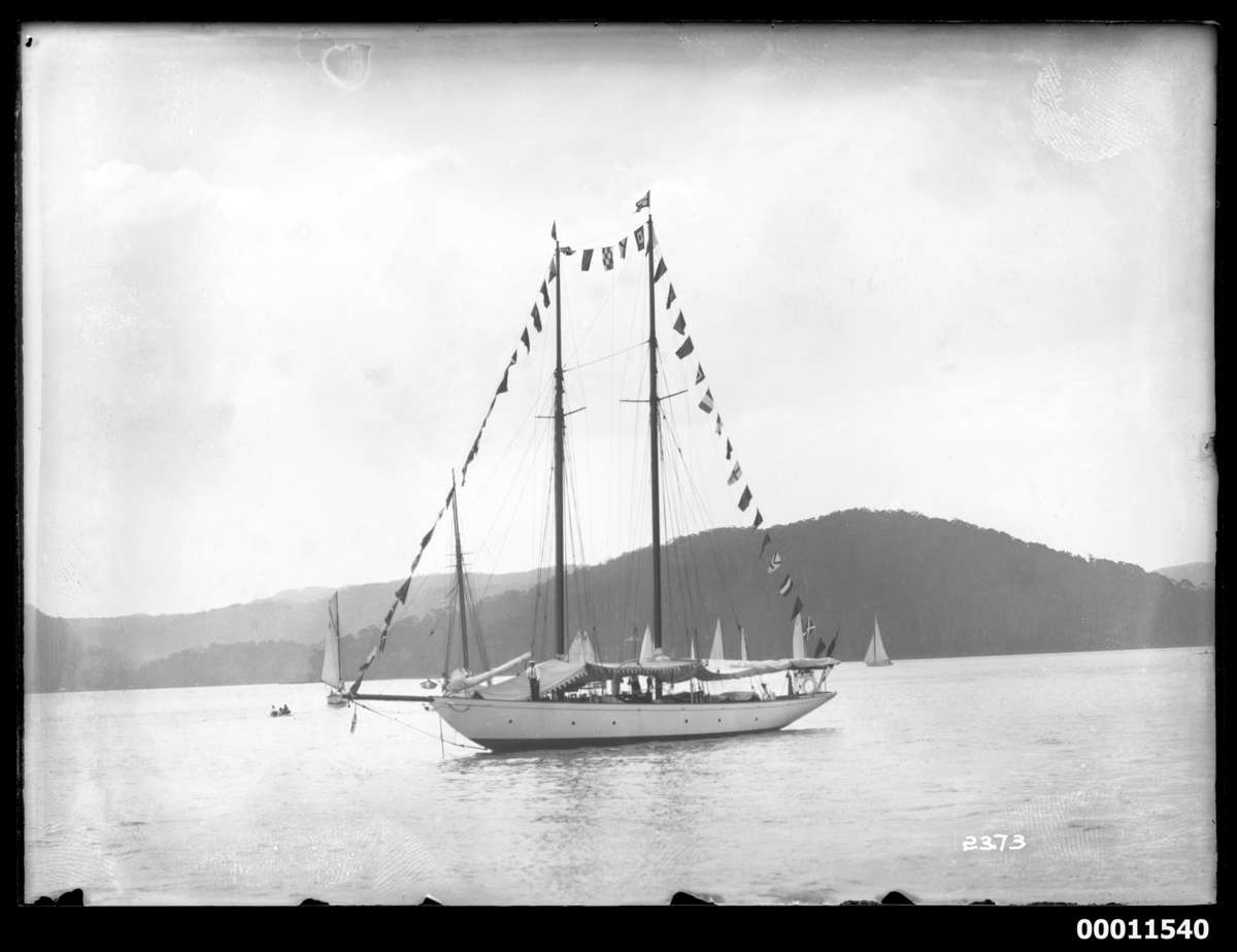 Schooner ADA with bunting at the 1928 Pittwater Regatta. ANMM Collection 00011540