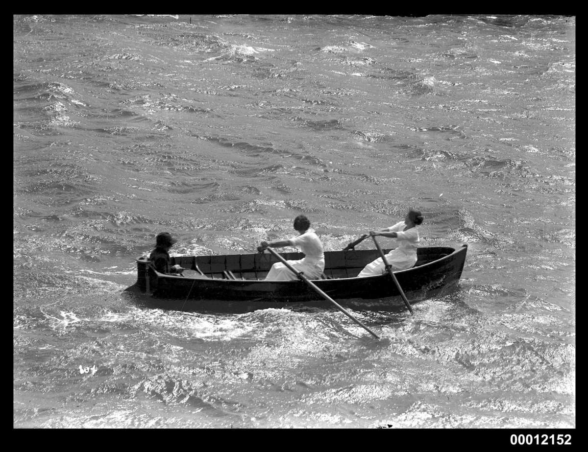 Mrs J Wilson and Miss Hastie winning the Ladies Double Sculls at the Pittwater Regatta ANMM Collection 00012152