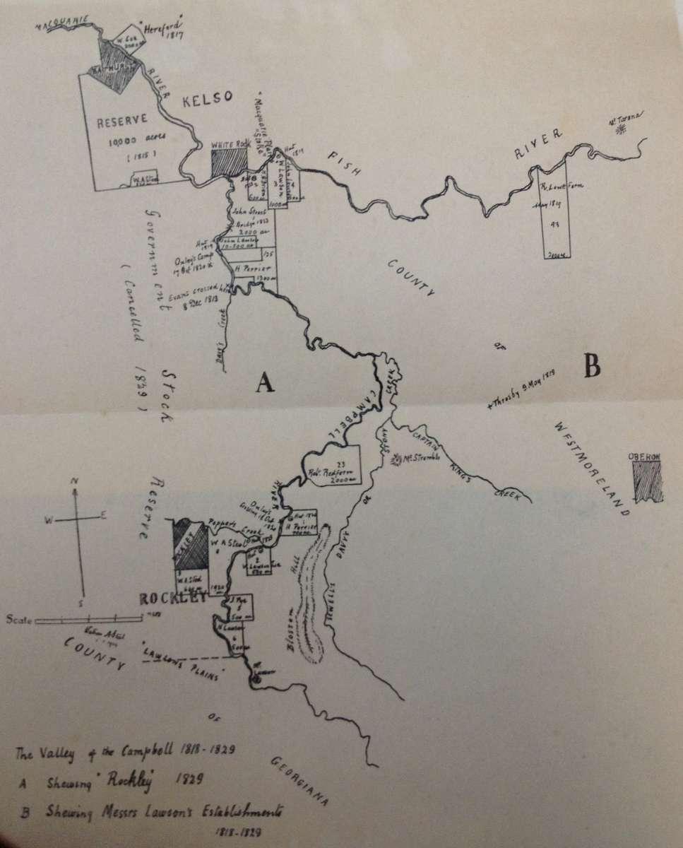 Plan of Rockley and surrounding district. 'History of Rockley, New South Wales' by Watson A. Steel, Royal Australian Historical Society Journal and Proceedings Vol XV. Part I (1929)