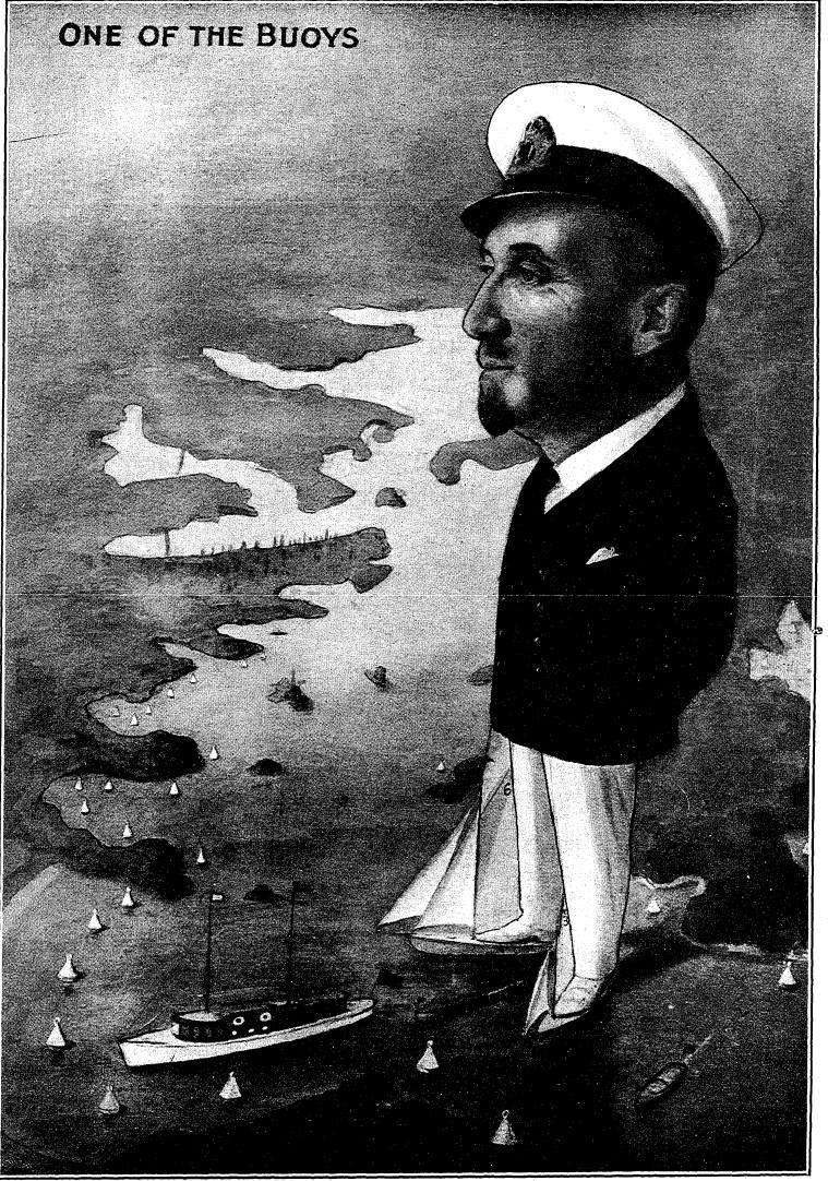 Caricature of Frank Albert, published in The Australian Motor Boat and Yachting Monthly, 1 January 1926, page 9