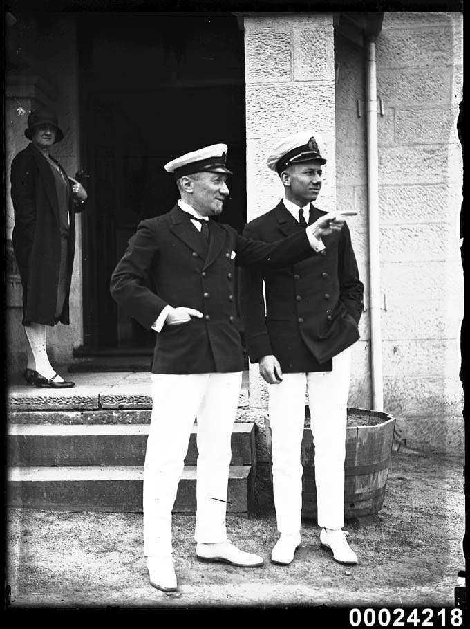 Alexis Albert (right) with his father Frank in the Royal Sydney Yacht Squadron uniform at their headquarters in Kirribilli, 1920s  Photographer: Samuel J Hood Studio ANMM Collection