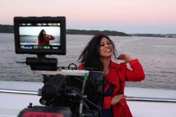New Indian Aussie radio host and commentator Shailja Chandra being interviewed for film.