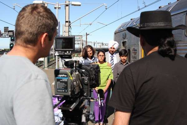 First Indian Aussie Train Driver being interviewed by Director of Photography Caz and Director Anupam.