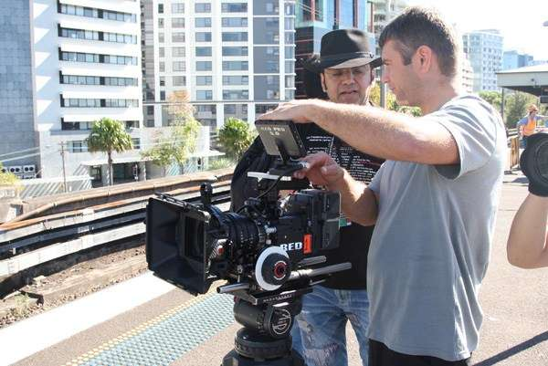 Director Anupam Sharma and Director of Photography Caz Dickson at Milsons Point, filming first Indian female train driver