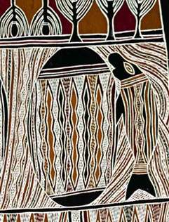 Detail from Yathikpa II artist Bakulanay Marawili 1998 ANMM Collection. Purchased with the assistance of Stephen Grant of the GrantPirrie Gallery. Here we see a dugong and the sacred rock Marrtjala.
