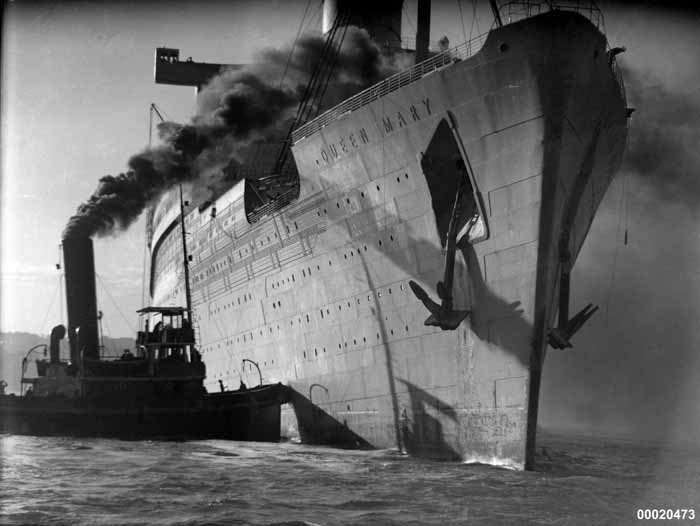 HM Troopship Queen Mary in Sydney Harbour, May 1940 Photographer: Samuel J Hood Studio