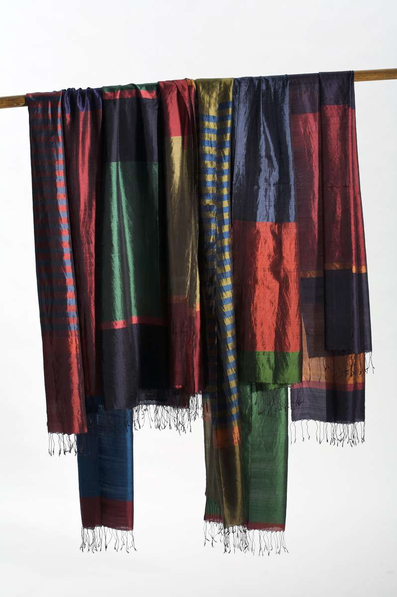 Woven in Asia' Silk scarves, designed by Liz Williamson and woven in West Bengal.
