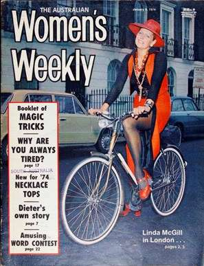 Photo of Linda riding a bicycle on front cover of magazine