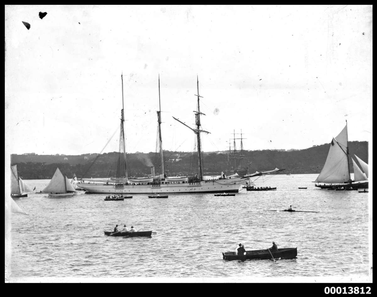 Steam yacht SUNBEAM on Sydney Harbour, 1887. ANMM Collection 00013812
