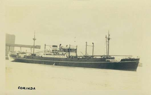 Black and white image of the ship Corina