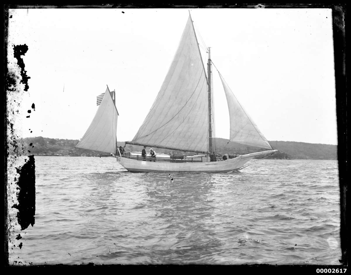 SPRAY displaying the new sails presented to Slocum by Mark Foy during his visit to Sydney, October 1896. ANMM Collection 00002617