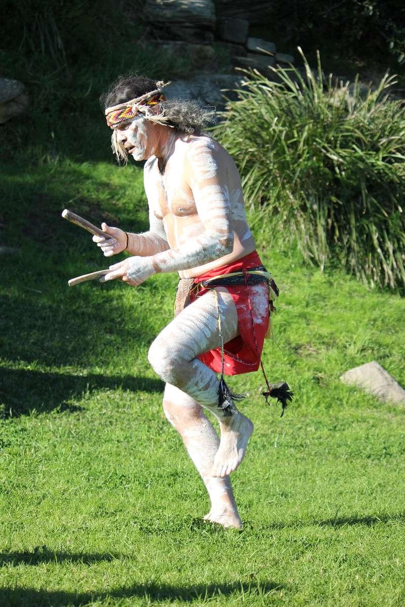 Glen Doyle performs a welcome dance on Clarke Island