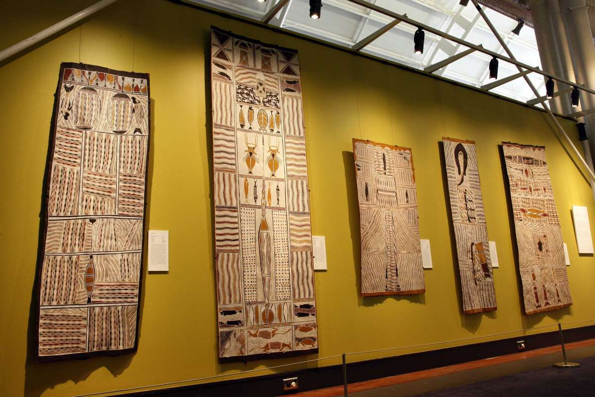 Series of bark painting hung in the museum