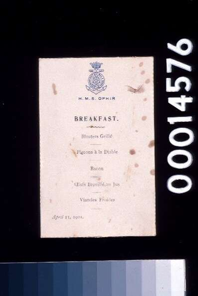HMS Ophir breakfast menu from the royal tour, 11 April 1901