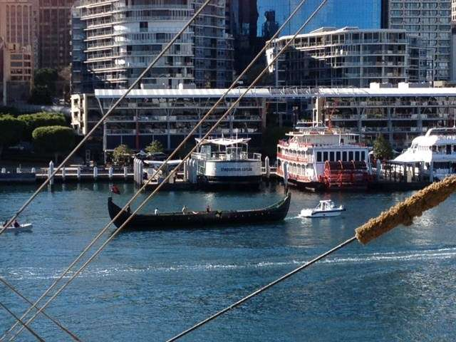 Jorgen Jorgensen under tow in Darling Harbour