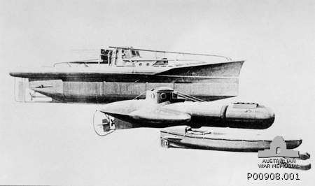 Drawing of three submersible craft used by Z Special Unit of SOA in 1944 and 1945. From Top: Welfreighter 4 man submarine, Welman 1 man submarine and Motorized Submersible Canoe (MSC or 'Sleeping Beauty'. Australian War Memorial item P00908.001