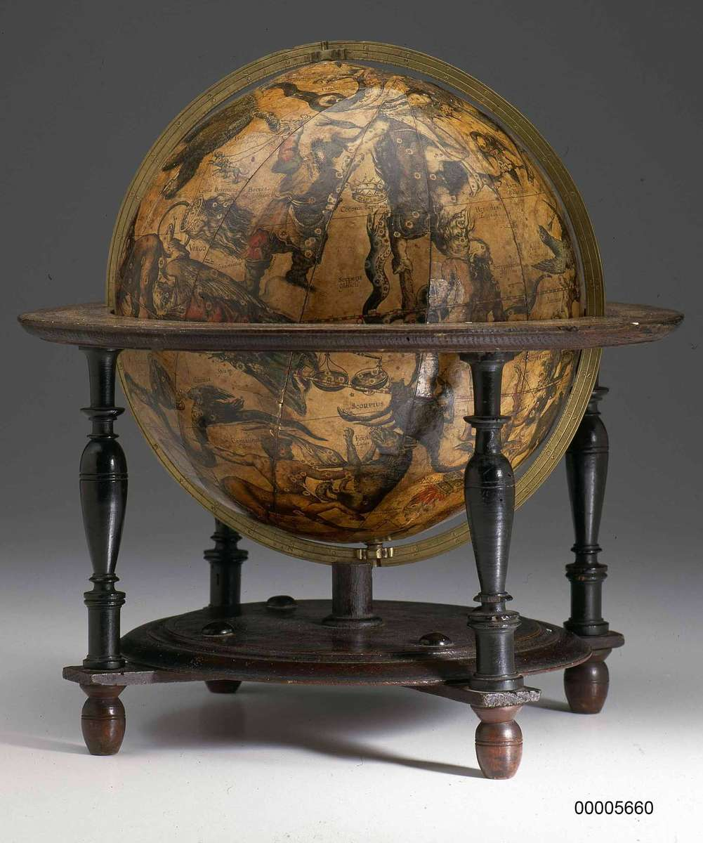 ANMM Collection Willem Janszoon Blaeu  celestial globe on display in Mapping Our World: Terra Incognita to Australia