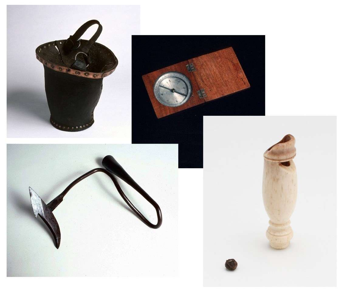 ANMM Collection on loan clockwise from left; copper riveted rawhide bailing bucket, pocket compass, scrimshaw whistle and whaling harpoon