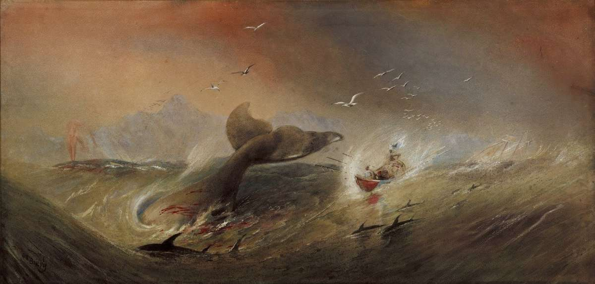 ANMM Collection Oswald Walter Brierly's watercolour Amateur whaling, or a tale of the Pacific
