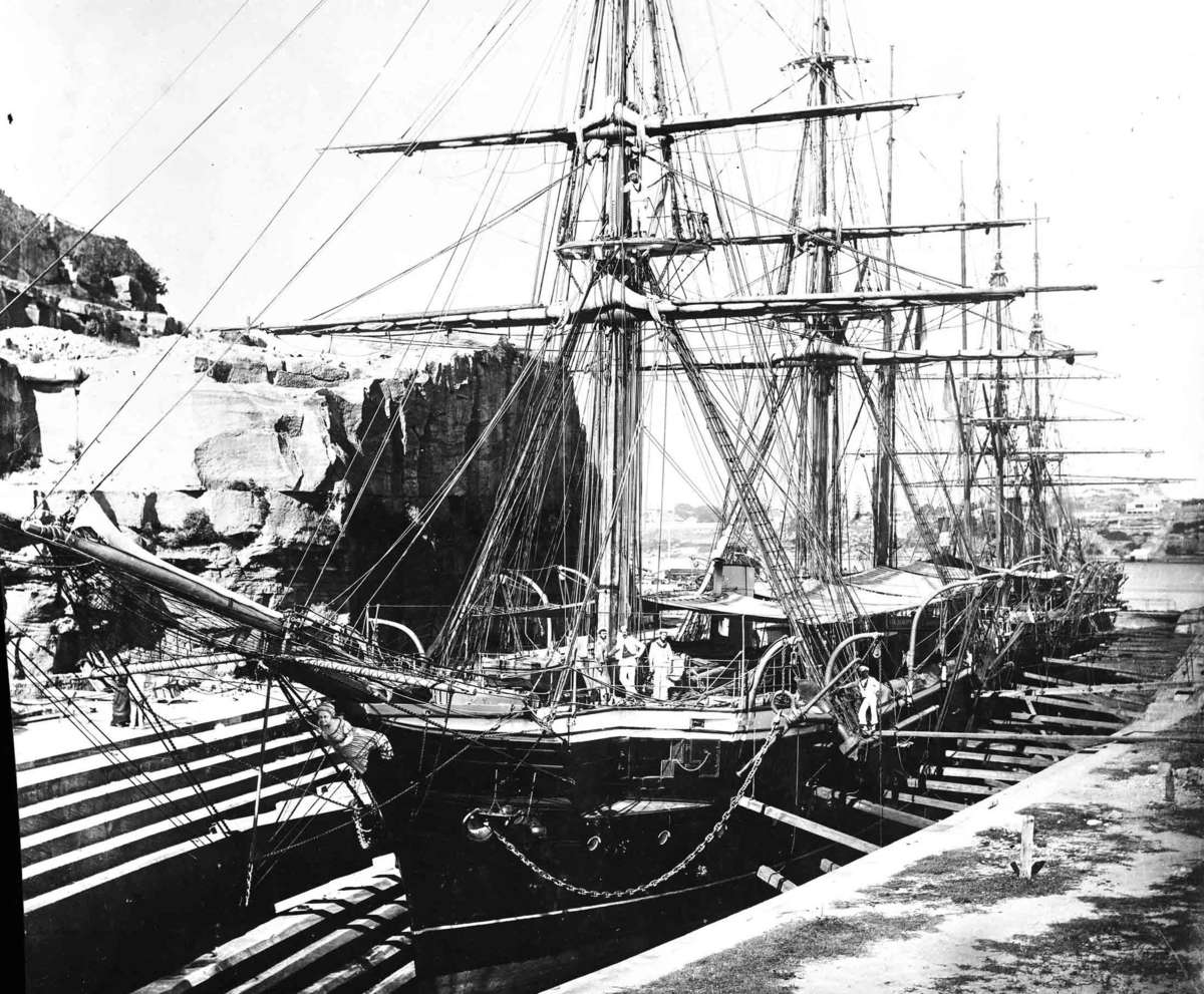 Photograph of a photograph of HMS Galatea in Cockatoo Island dry dock, Sydney in 1870 Samuel J Hood Studio ANMM Collection