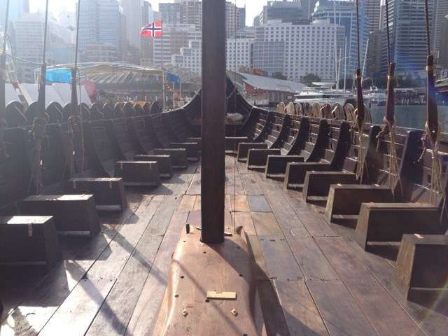 The deck of the Viking vessel awaiting a complement of 32 rowers