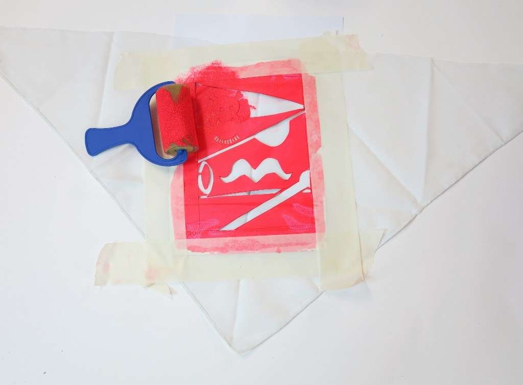 Step 8: roller printing onto a bandanna