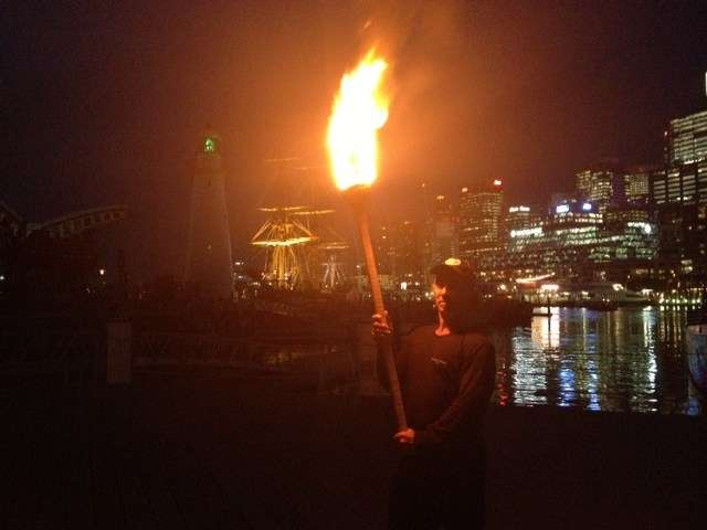 Testing the flaming brands for the opening night
