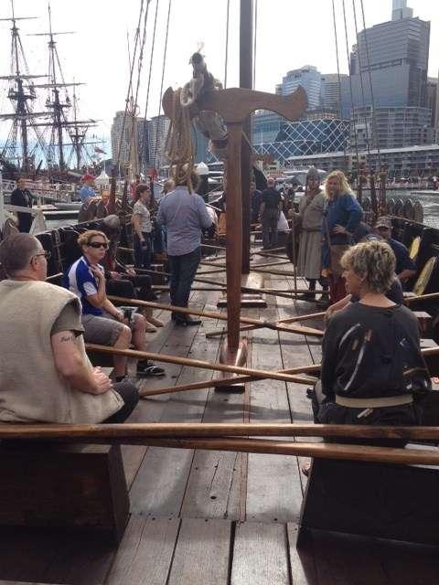 On the deck of the Jorgen Jorgenson preparing to row