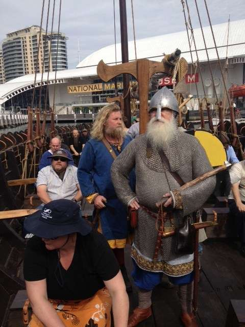 Museum staff and volunteers are ordered to row by some hirsuite Vikings
