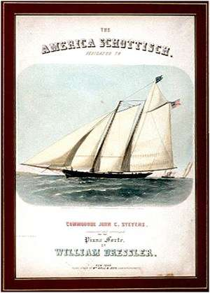 Sheet music with illustration of the schooner America