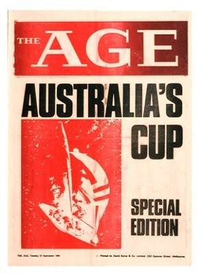 Newspaper cover, with text: The Age, Australia