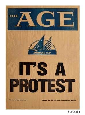 Newspaper cover with text: The Age, It