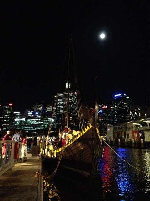 The Jorgen Jorgenson ready for the exhibition opening ceremony under a full moon