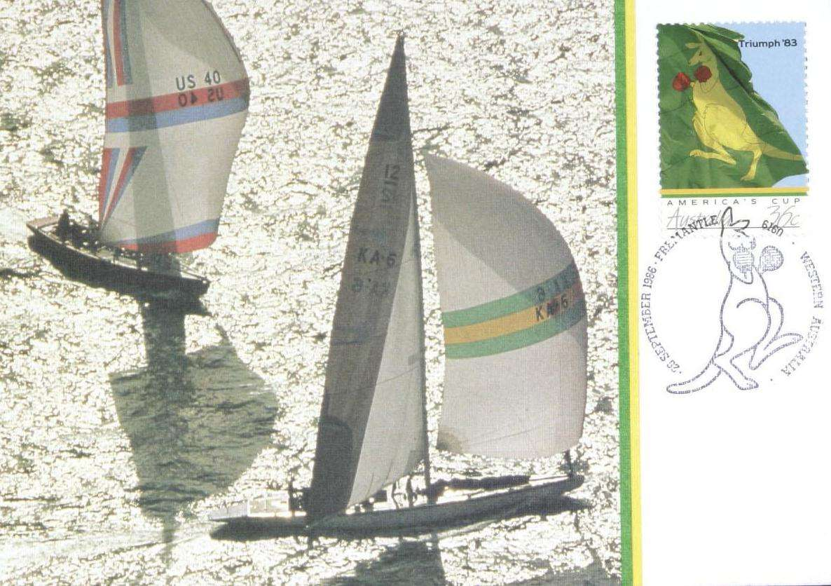 Post stamp with two yachts on water and boxing kangaroo in right corner