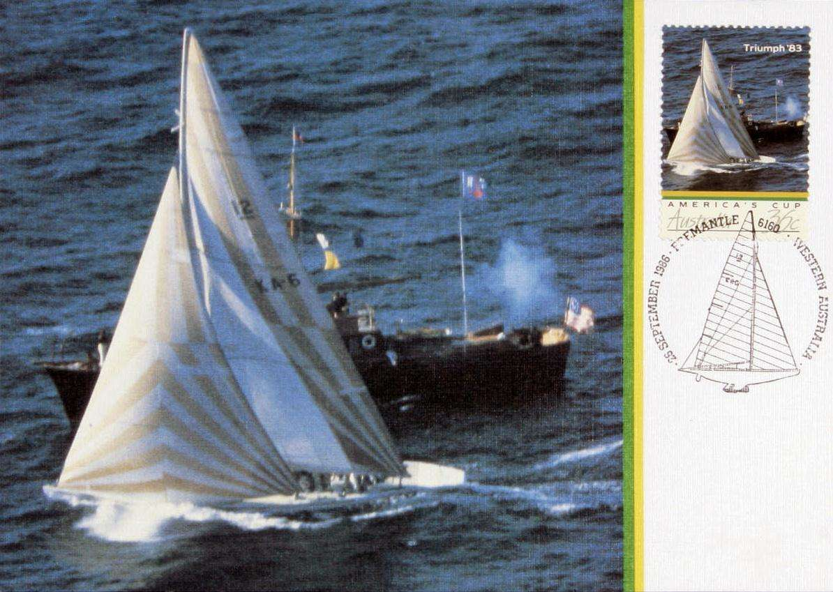 Post stamp with yacht on water, small boat alongside firing gun