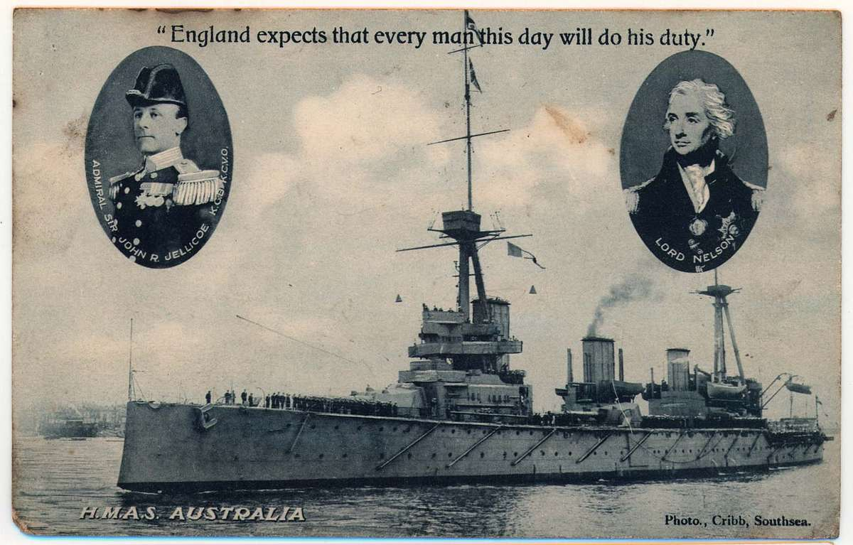 Postcard showing HMAS Australia departing Portsmouth for Australia, this postcard was produced during World War I as a means of rallying patriotic pride for the British Commonwealth. ANMM Collection