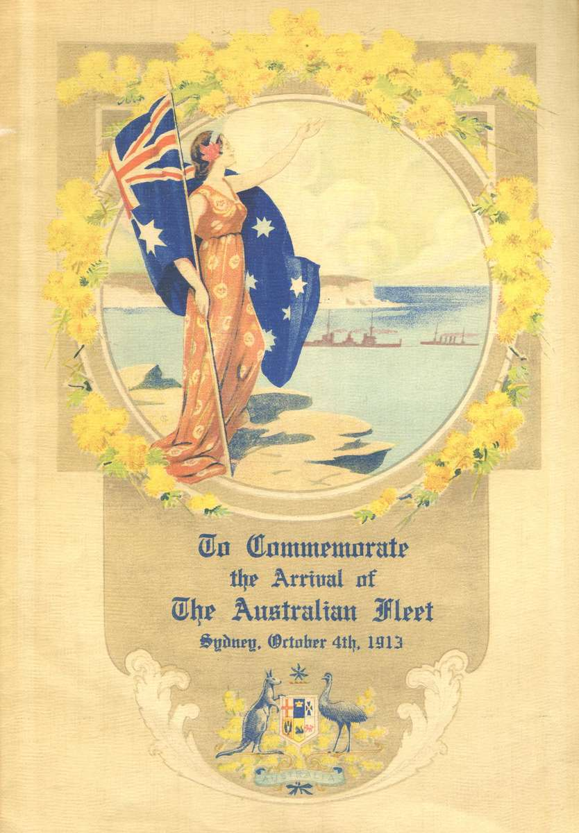 Commemorating the arrival of the first Australian Fleet Unit, with the female personification of Australia. ANMM Collection