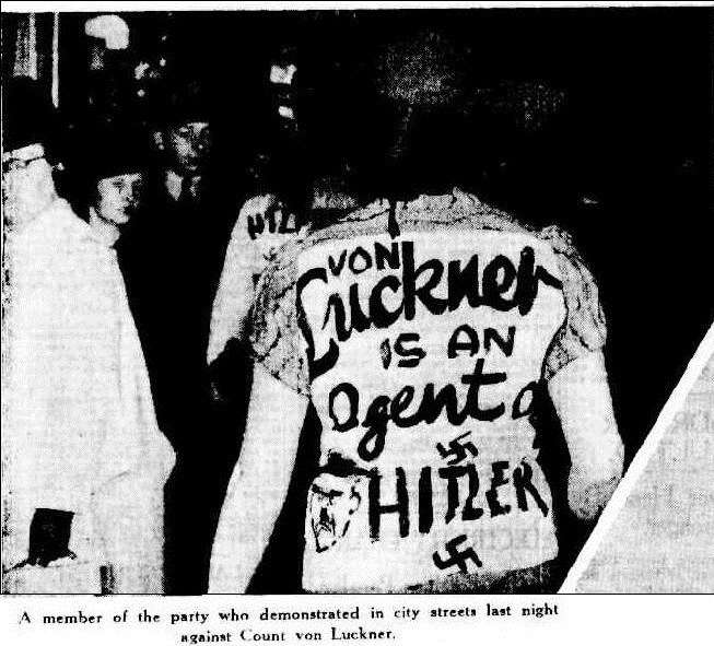 Photograph of a protestor published in The Sydney Morning Herald 21 May 1938 Trove Australia
