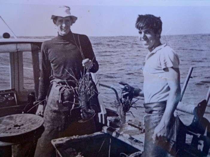 Seminar presenter former fisherman John Fitzhardinge with Wayne 'Nugget' Bailey on Blue Marlin off the Abrolhos Islands, April 1965 Photo courtesy John Fitzhardinge