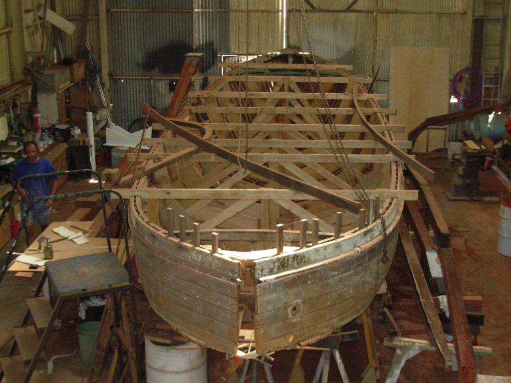MV Kiewa, during restoration. This Perth-built motor launch was built for the Commodore of the Royal Perth Yacht Club and this year celebrated its one hundredth birthday. Photos courtesy Ron Lindsay