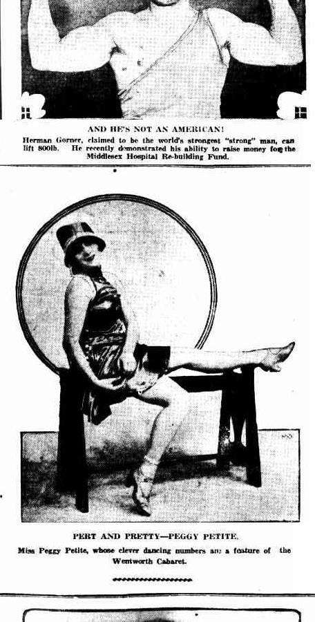 Peggy Petite, star of the Wentworth Cabaret. Sunday Times, 22 May 1927