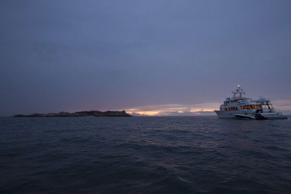 Research vessel Silentworld II anchored up behind Quoin Island. Photo: Xanthe Rivett, Silentworld Foundation