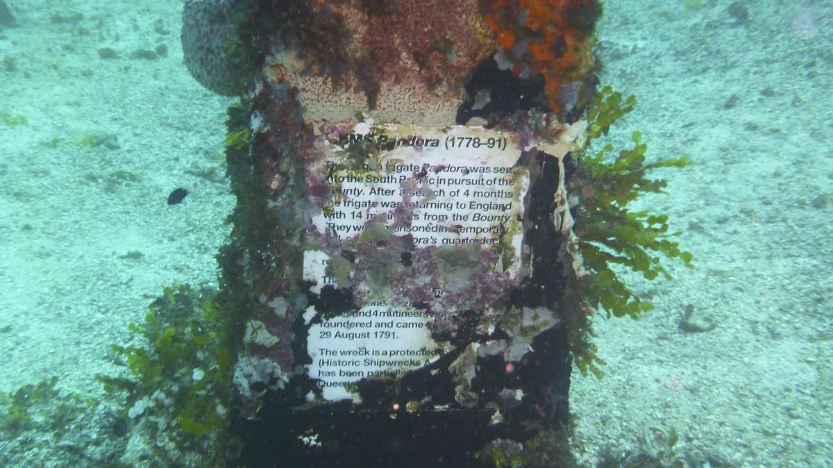 The monument to Pandora. PHOTO: Peter Illidge, Great Barrier Reef Marine Park Authority.