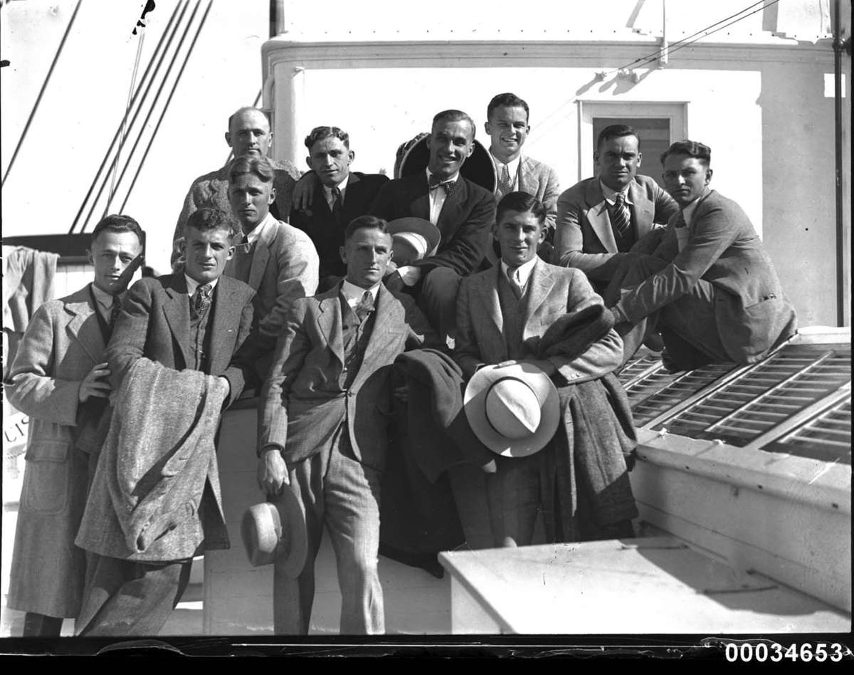 American baseballers on SS Sierra, 8 August 1929 Samuel J Hood Studio ANMM Collection