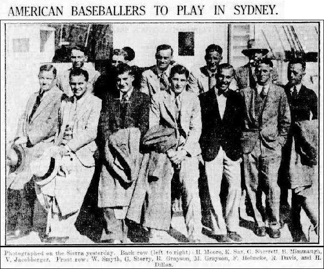Photograph of American baseballers Sydney Morning Herald via Trove