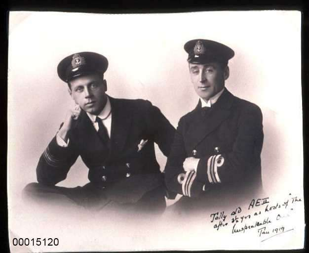 Lieutenant Geoffrey Haggard and Commander Henry Stoker who were responsible for taking the AE2 through the Dardenelle Straits and into the Sea of Marmara in April 1915.
